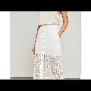 BCBGMAXAZRIA white lace maxi skirt